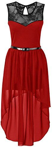 New Womens Plus Size Uneven Chiffon Dip Hem Lace Belted Prom Party Dress ( Red, M ) -- Read more at the image link.