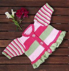 (6) Name: 'Knitting : Baby & Toddler Stripe & Frill Cardigan - pattern $5