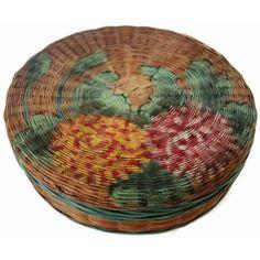 Vintage sewing basket, painted floral decoration (c 1920s)