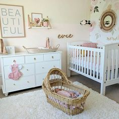 Girl nursery. Floral nursery. White and pink nursery.