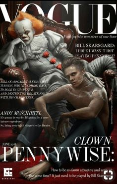 Pennywise and Bill Skarsgard is on the magazine! Horror Icons, Horror Art, Horror Movie Characters, Horror Movies, Bill Skarsgard Pennywise, It Bill Skarsgard, It The Clown Movie, Le Clown, Pennywise The Dancing Clown