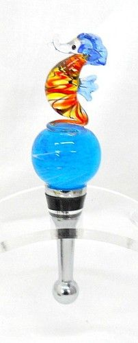 New Hand Blown Orange Yellow Black Blue Seahorse on A Bubble Wine Stopper Cork | eBay