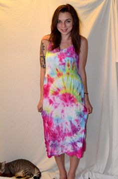 Tie dye 70s Style Dress by MerlotMami on Etsy