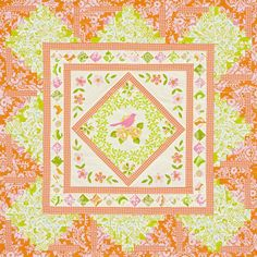 Frame a fussy-cut fabric piece with a flower appliqué border and Log Cabin blocks. Pinks, oranges, and greens make for a fresh and bright wall hanging.