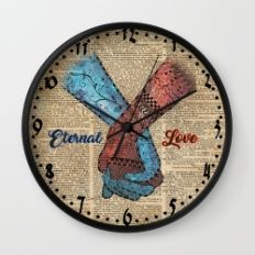 Holding Hands,Eternal Love,Space Dictionary Art Wall Clock