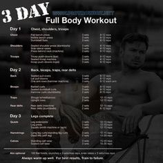 3 Day Full Body Workout Plan - All Muscle Training Best Results . - 3 Day Full Body Workout Plan – All Muscle Training Best Results 3 day workout plans – Workout - Full Body Workouts, Fitness Workouts, Full Body Workout Routine, Fitness Motivation, Weight Lifting Workouts, Muscle Building Workouts, Workout Body, 3 Day Split Workout, Training Motivation