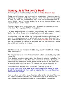 Sunday...Is It The Lord's Day by spiritntruth via slideshare   www.nopews.blogspot.com