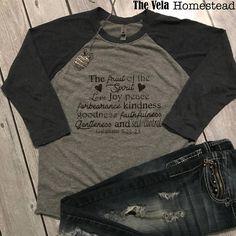 Fruit of the spirit T-shirt! Christian, religious, ladies, women, Galatians t-shirt. The fruit of the spirit Love, Joy, Peace, Forbearance, kindness, goodness, faithfulness, gentleness and self control. women religious t-shirt, worship, christian clothing, raglan, baseball t-shirt, The Vela Homestead