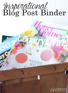 Keep all of your blog post ideas organized with this super, simple method! Check out today's post to see how I created my own Inspirational Blog Post Binder! http://thesummeryumbrella.com/2016/03/inspirational-blog-post-binder/