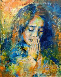 Bold Color Portrait Painting by Artist Luzdy Rivera. #grateful #virginmary #maddona #pray #love Canvas Paper, Bold Colors, Grateful, Original Artwork, Artist, Color Portrait, Pray, Paintings, Vivid Colors
