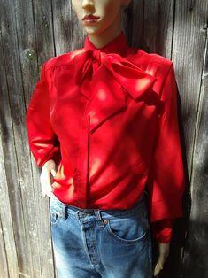 Vintage 80s Pendleton Blouse/Secretary Blouse/Bow-Tie Blouse | Etsy