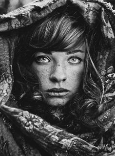 "♀ Black and white woman portrait face of a girl with Freckles ""Siberian Stories"" by Daria Pitak"