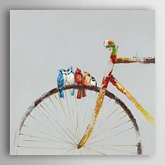 Hand+Painted+Oil+Painting+Animal+Birds+Stay+on+the+Bike+with+Stretched+Frame+–+AUD+$+150.48