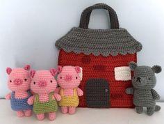 Amigurumi Three Little Pigs Playset Crochet Pattern by AmyGaines