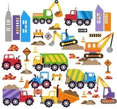 City Construction Vehicles Peel & Stick Baby/Nursery Wall Art Sticker Decals