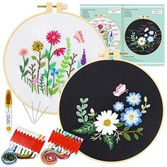 Bouquet Embroidery Starter Kit with Pattern Mikimiqi Full Range of Stamped Embroidery Kit Including Embroidery Cloth with Floral Pattern Color Threads and Tools Kit Bamboo Embroidery Hoop