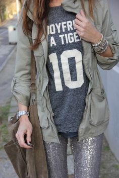 sequin leggings and graphic tee