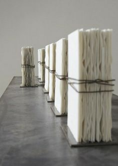 Elizabeth Brillet, Porcelain Books. Found pinned on page collecting images of tied and bound art pieces...