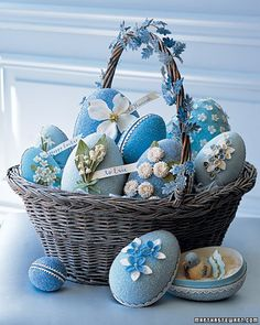 """See the """"Glittered Floral Egg Basket"""" in our gallery. I love the idea of staining the basket to match the contents. I would sample my color on the bottom of the basket to make sure I had the right shade after it dries. Easter Egg Basket, Easter Eggs, Easter Table, Easter Bunny, Easter Dinner, Easter Crafts, Holiday Crafts, Easter Decor, Easter Centerpiece"""