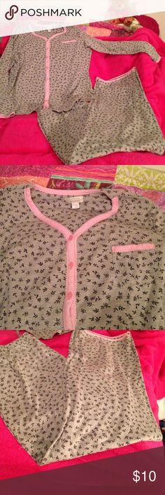 Pajamas XL 2 piece pajamas. Button up long sleeved top with a pocket. Pull on pants. Pretty grey print with pink trim. Celestial Dreams Intimates & Sleepwear Pajamas