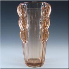 Sowerby Art Deco 1930's 'Rosalin' Pink Glass Vase #2597