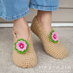 How to Crochet Sweet Simple Slippers - Adult Socks & Booties - DIY Free Pattern and YouTube Tutorial by Donna Wolfe from Naztazia