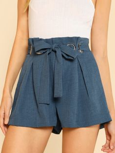 Sheinside Blue Belted Shorts Office Ladies Workwear O-Ring Detail Elegant Shorts Women High Waist Summer Casual Shorts - - Short Outfits, Short Dresses, Summer Outfits, Cute Outfits, Urban Fashion Trends, Diy Fashion, Fashion Outfits, Ladies Fashion, Womens Fashion