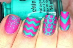Stunning Wavy Neon Nails Accented with Stripes and Dots.