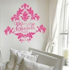 """Vinyl Wall Decal:  """"Tres Chic Damask"""" shown here in hot pink... from Monogram Lane."""