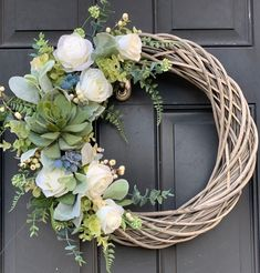 Year Round Succulent Wreath for front door with white roses and Lambs Ear, spring wreath for front d Year round wreath Diy Spring Wreath, Spring Door Wreaths, Easter Wreaths, Holiday Wreaths, Yarn Wreaths, Burlap Wreaths, Ribbon Wreaths, Wedding Door Wreaths, Rustic Wreaths