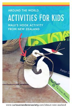 Learn all about the Maori legend of Maui and how he pulled up Te Ika a Maui (the North Island of New Zealand) and make Maui's fish hook! Maui Activities, Hands On Activities, Legends For Kids, Maui Fish Hook, Preschool Crafts, Crafts For Kids, Maori Legends, Map Of New Zealand, Maori Art