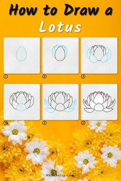 Flower Drawing For Kids, Simple Flower Drawing, Easy Flower Drawings, Flower Drawing Tutorials, Simple Flowers, Easy Drawings, Flower Drawing Tutorial Step By Step, Lotus Drawing, Learn To Draw