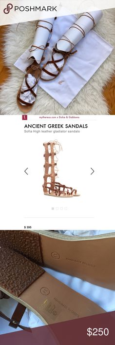 NWT: Ancient Greek Brown Leather Sandals Look towards summer with these impossibly chic leather gladiator sandals from Ancient Greek Sandals. Hand-crafted in Greece from smooth tan leather and laced through front with tonal leather cord. Perfect with a dress or skirt for the perfect look. Brand new with tags, Great deal at almost half off retail price! Enjoy! Ancient Greek Sandals Shoes Sandals