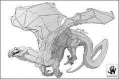 FoldedWings by DemonML sketch creature design Creature Concept Art, Creature Design, Alien Concept Art, Monster Design, Monster Art, Magical Creatures, Fantasy Creatures, Dragon Anatomy, Dragon Poses