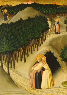 Master of the Osservanza (Sano di Pietro?) — The Meeting of Saint Anthony and Saint Paul c. 1430/1435