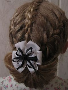 """Hairstyle for girls """"three braids. Cute Hairstyles For Kids, Little Girl Hairstyles, Elegant Hairstyles, Braided Hairstyles, Wedding Hairstyles, Cool Hairstyles, Kids Hairstyle, Love Hair, Great Hair"""