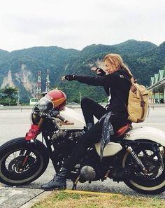 Motorcycles, bikers and more — Biker girl on Harley-Davidson