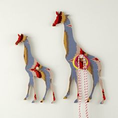 Large Orange/Blue Giraffe Wall Hooks