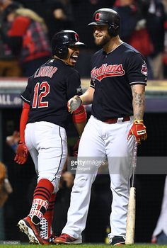 Francisco Lindor,Mike Napoli, CLE//Oct 14, 2016 Game 1 ALCS v TOR