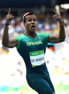 Bruno de Barros Photos Photos - Bruno de Barros of Brazil reacts during round one of the Men's 4 x 100m Relay on Day 13 of the Rio 2016 Olympic Games at the Olympic Stadium on August 18, 2016 in Rio de Janeiro, Brazil. - Decathalon - Olympics: Day 13