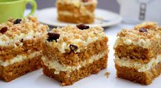 mrkvový koláč s tvarohovou plnkou Slovakian Food, Czech Desserts, Baking Recipes, Dessert Recipes, Healthy Cake, No Bake Cake, Sweet Recipes, A Table, Sweet Tooth