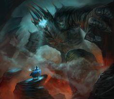 Fingolfin and Morgoth by juliedillon.deviantart.com on @deviantART