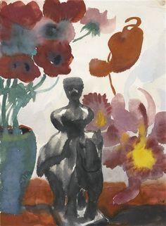 Emil Nolde (Danish/German 1867-1956), Blumen (Flowers), watercolor on paper, 1935 or earlier. Sold at auction.