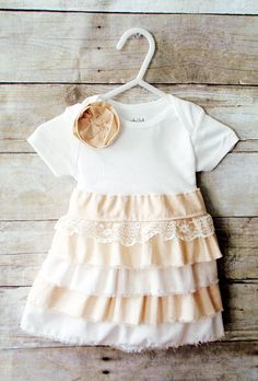 Shabby chic baby girl onesie dress with ruffles