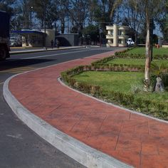 Industrial park walkway made with products from Rotec International #DecorativeConcrete #StampedConcrete