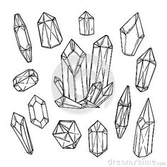Hand drawn vector illustration - Set of geometric crystals