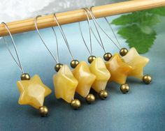 Knitting Stitch Markers Yellow Carnelian Semi-Precious by yarnyoda
