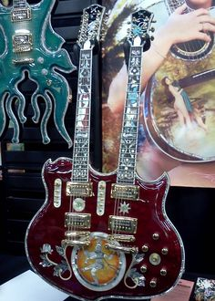 An incredible double neck Minarik guitar in their booth at NAMM 2013.
