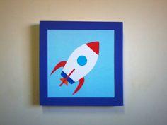 Quadro Foguete, 20x20cm, moldura roxa, pega uma carona e #correnaloja www.pendurama.com.br