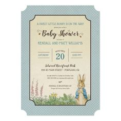 Invite all your family and friends to your Peter Rabbit themed baby shower with these sweet blue polka dot invitations. Invitations Disney, Custom Baby Shower Invitations, Baby Shower Invitation Cards, Baby Shower Cards, Baby Shower Parties, Baby Shower Themes, Baby Boy Shower, Shower Ideas, Shower Party